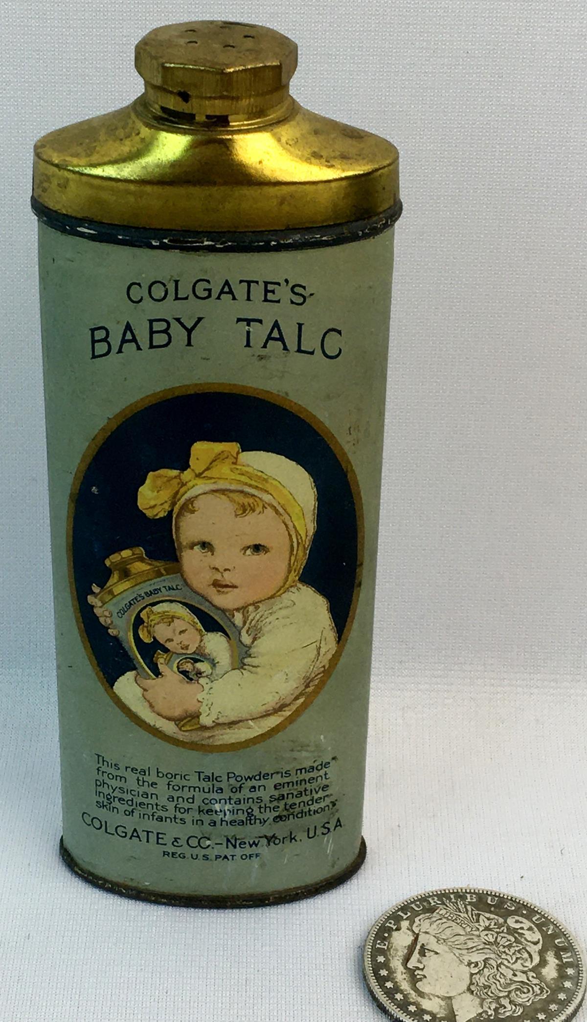 Vintage c.1920 Colgate's Baby Talc Powder Tin w/ Powder