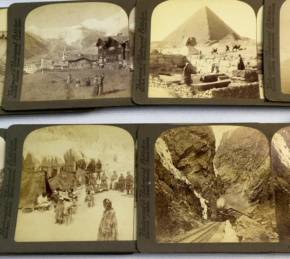 Antique c. 1900 Lot of 39 Misc. Stereoview Cards (Eskimos, Trains, African, Moon, Etc.)