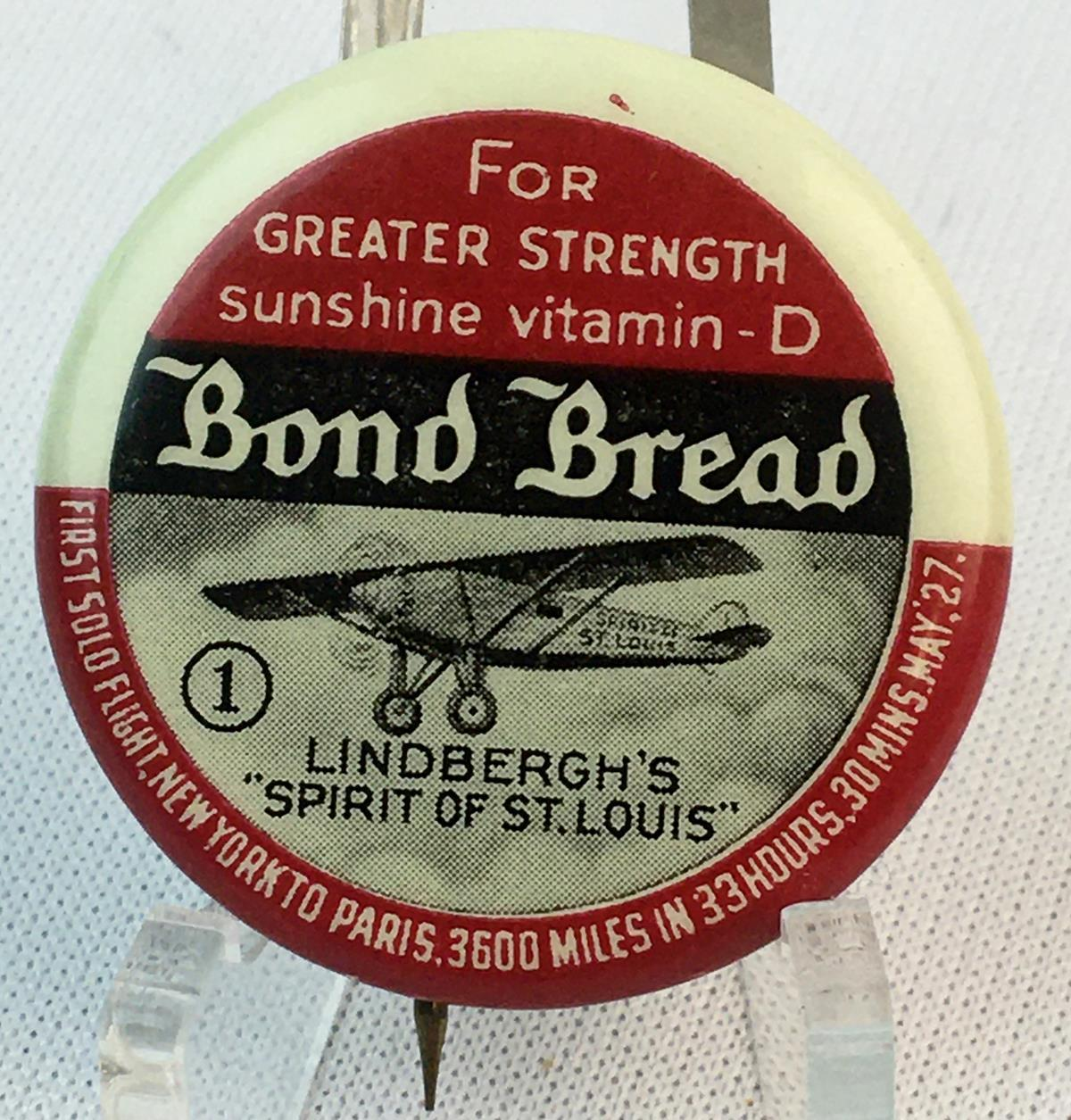 Vintage 1930's Bond Bread Charles Lindbergh Pinback Celluloid Button