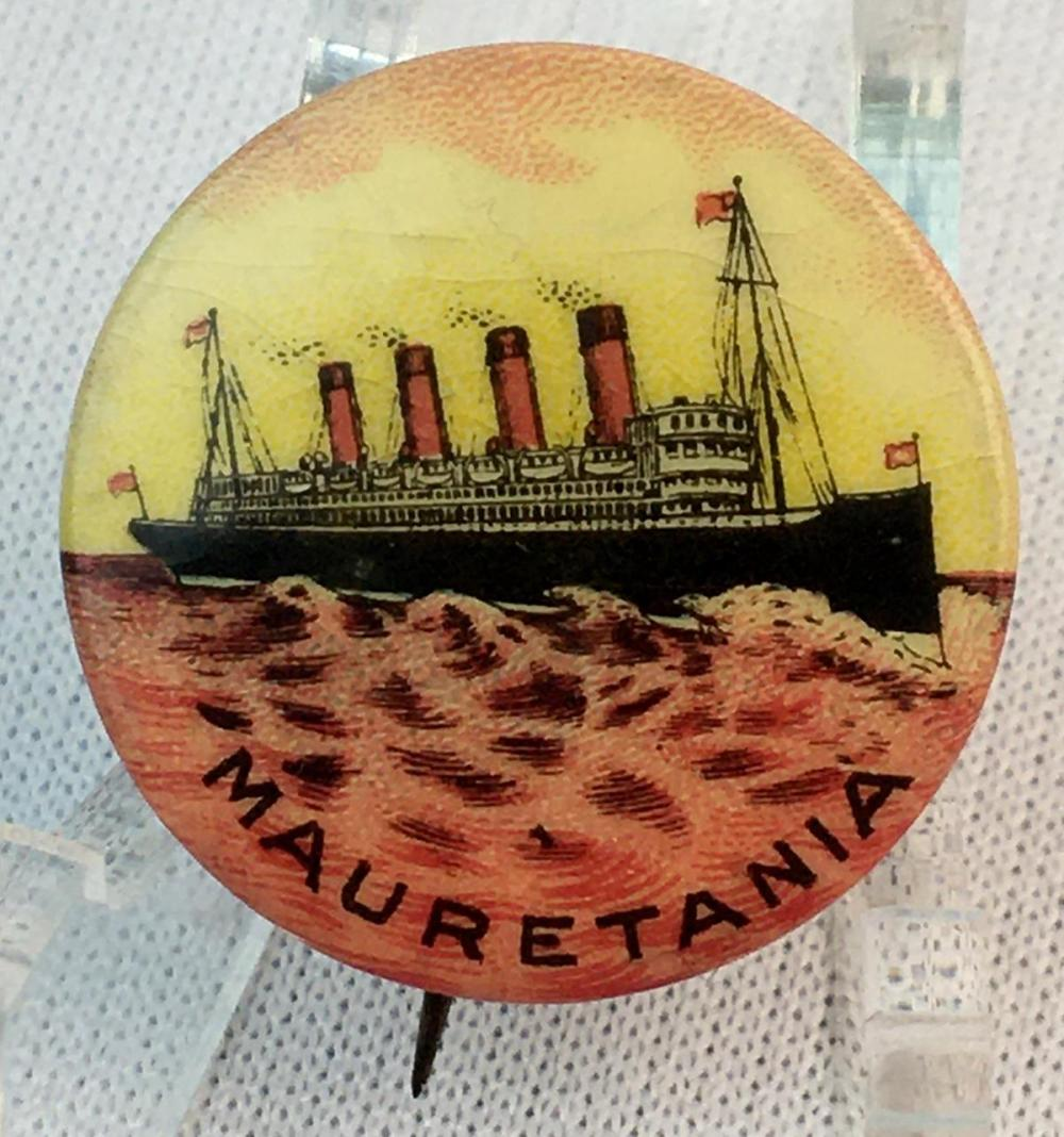 Antique c. 1915 RMS Mauretania Ship Pinback Celluloid Button Griffith & Rowland Press