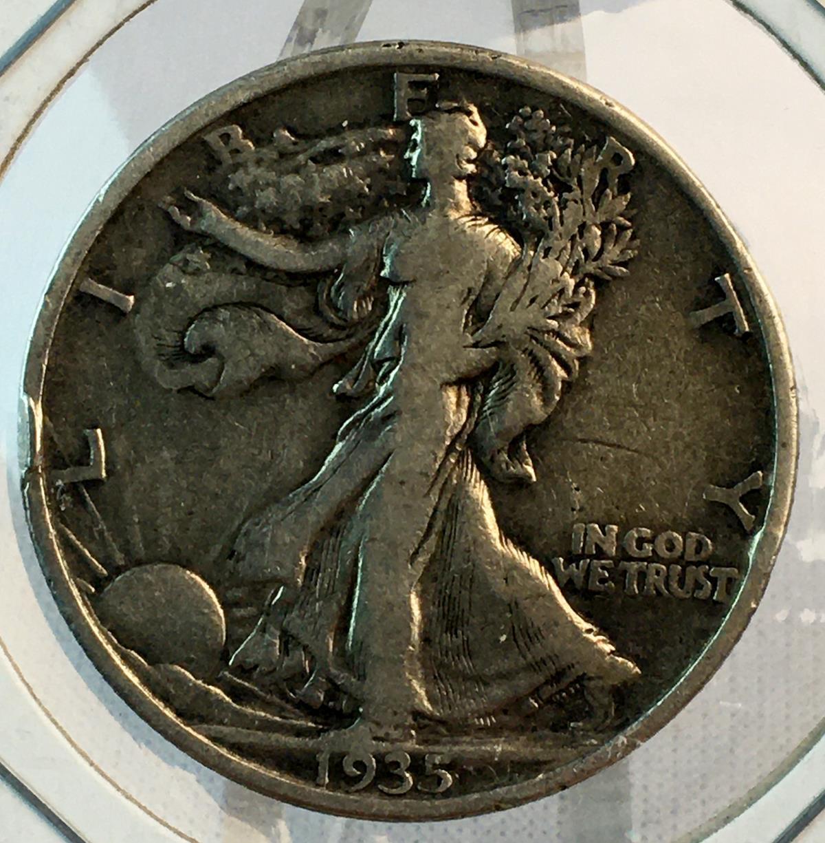 1935 US 50c Walking Liberty Silver Half Dollar