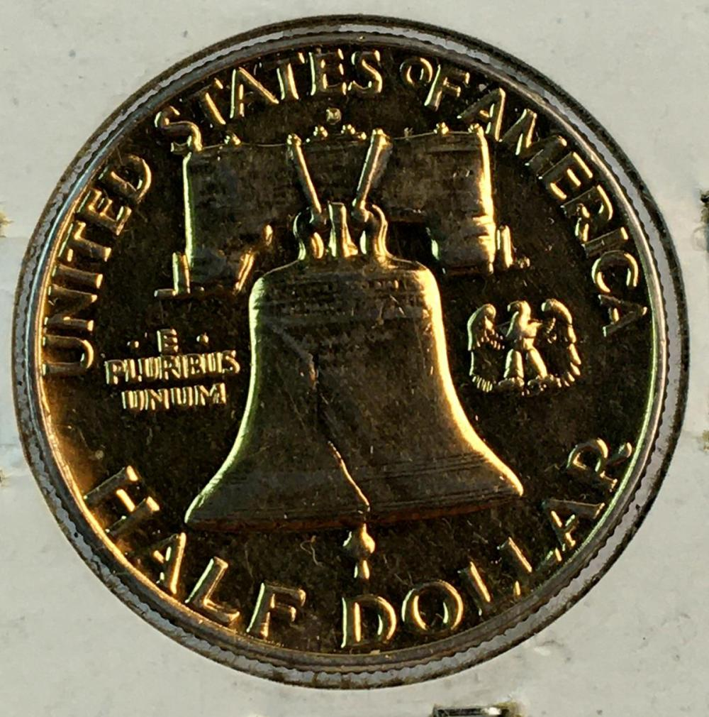 1962 US 50c Franklin Silver Half Dollar (Nice Cameo Toning)