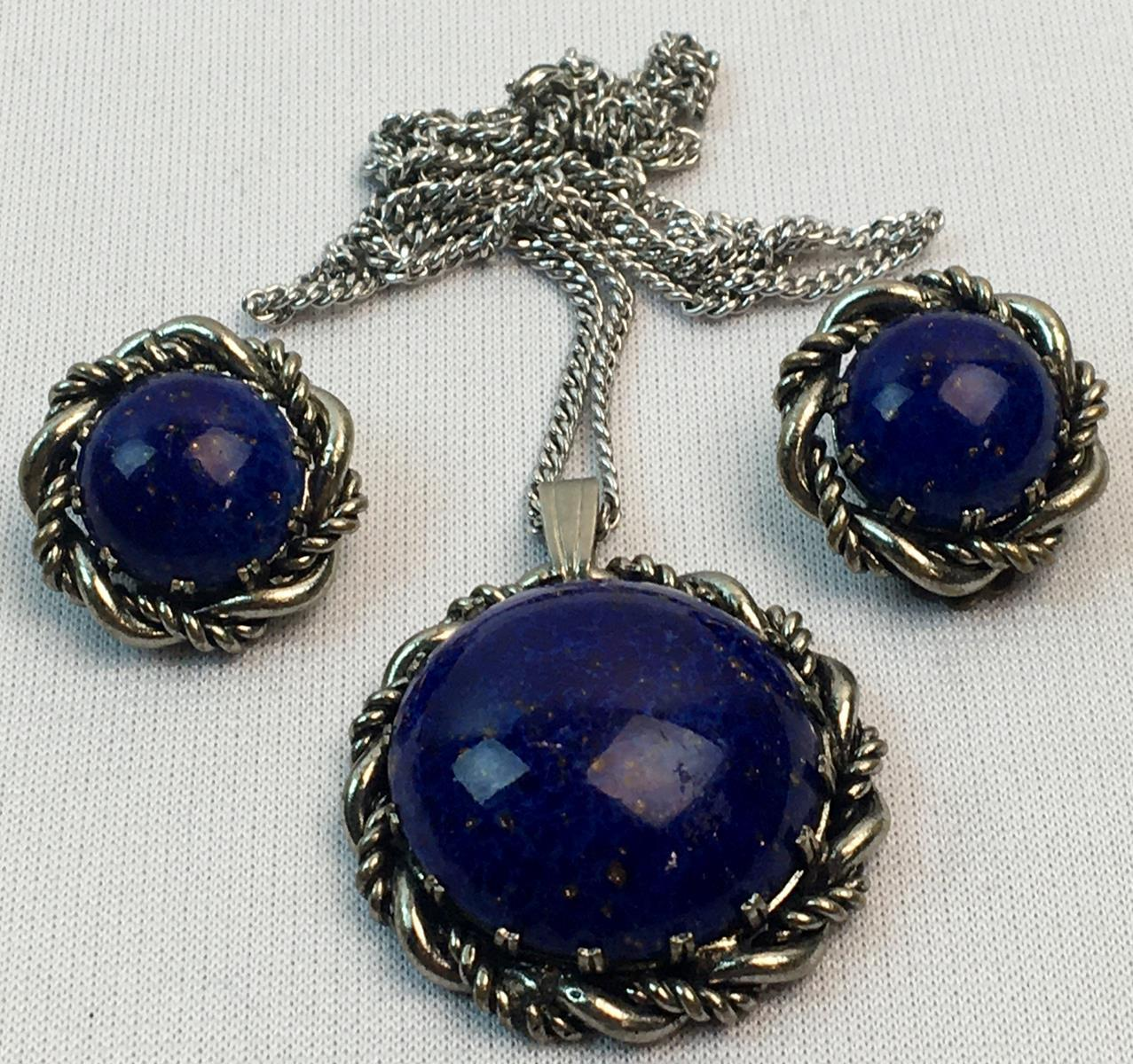 Vintage 1950's Western Germany Faux Lapis Necklace & Earring Set