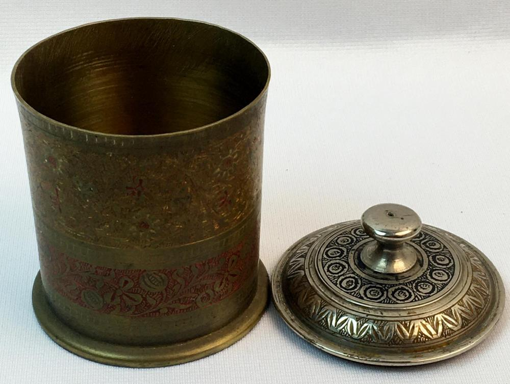 Vintage 1930's India Etched Floral Brass Lassi Covered Footed Cup w/ Lid