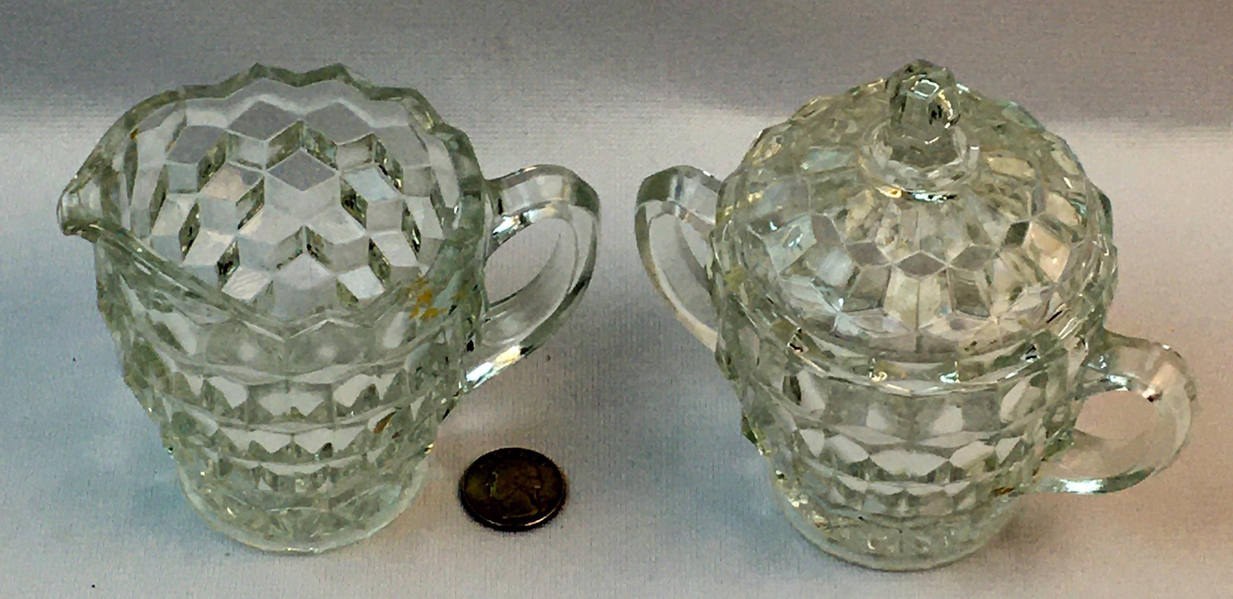 Vintage Fostoria Crystal American Pattern Covered Sugar and Creamer Set