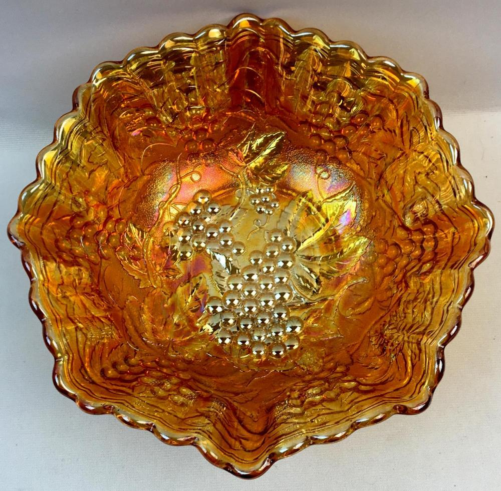 Vintage Imperial Grape and Cable Iridescent Marigold Carnival Glass Bowl w/ Ruffled Edge