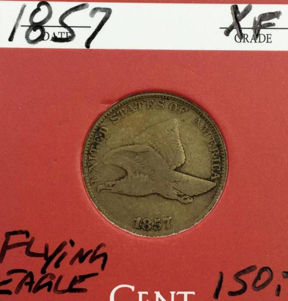 1857 US 1c Flying Eagle Cent W/ Case XF
