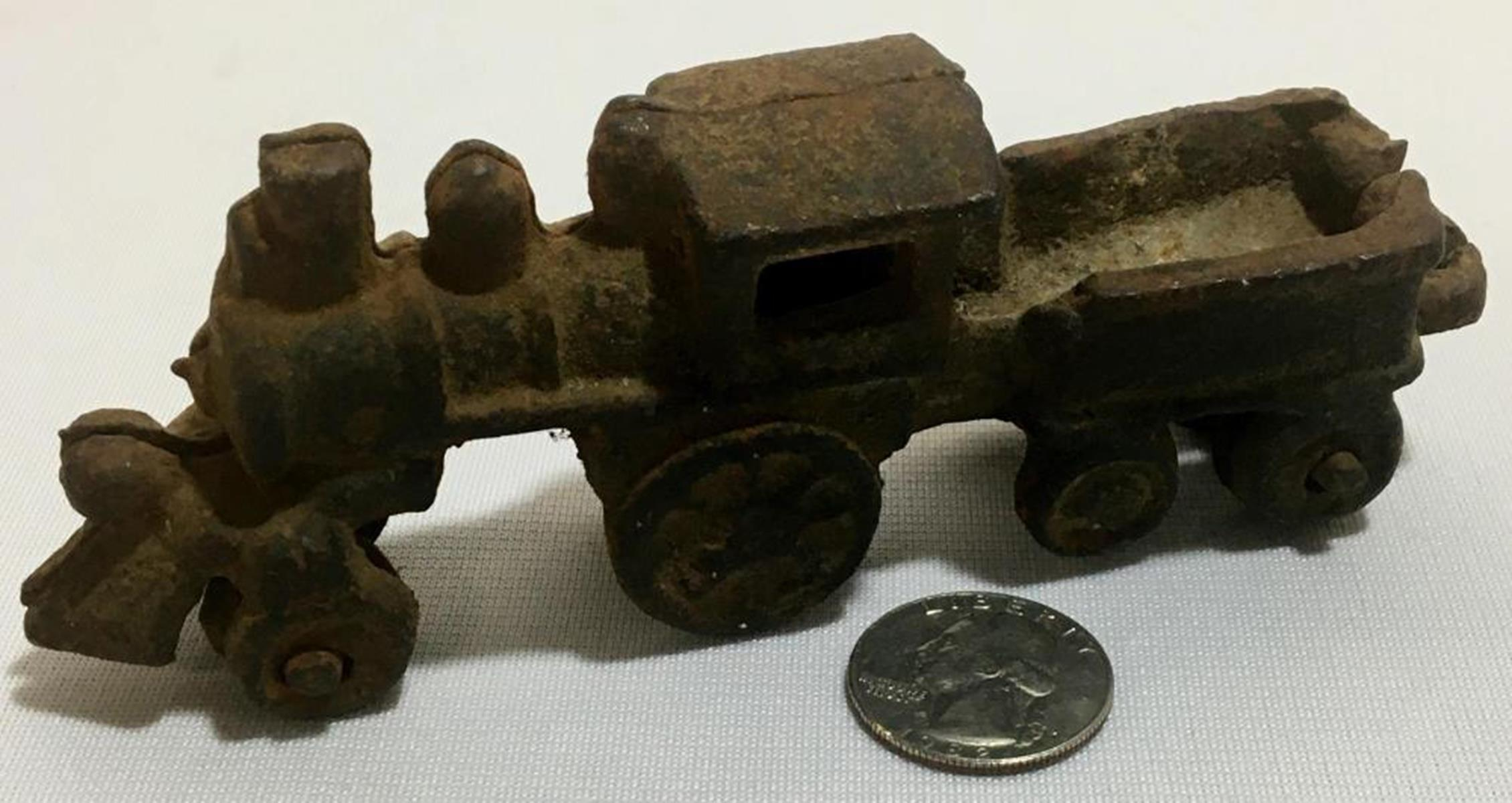 RARE Antique Cast Iron Locomotive and Connected Coal Car
