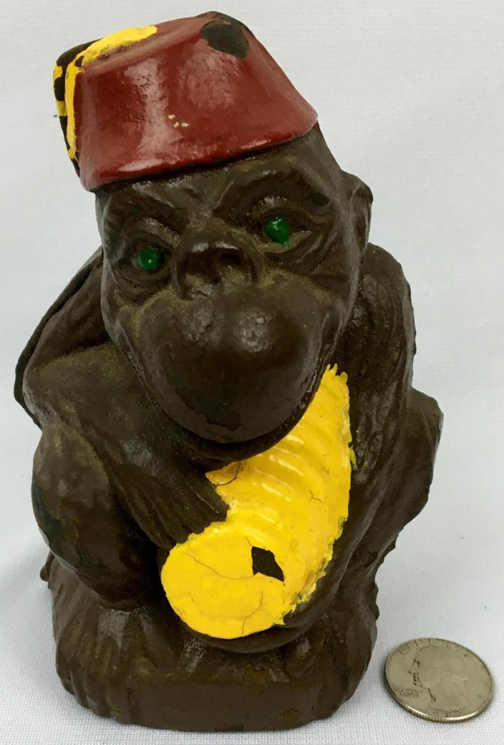 Antique Koko The Wise Monkey Figural Cast Iron Coin Still Bank