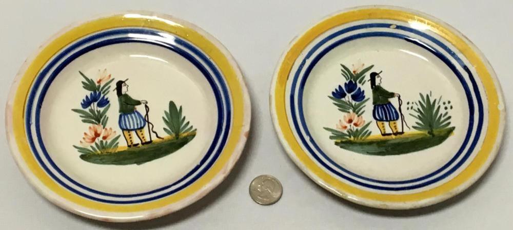 "Antique Lot Of 2 Henriot Quimper Hand Painted Plates 6-7/8"""