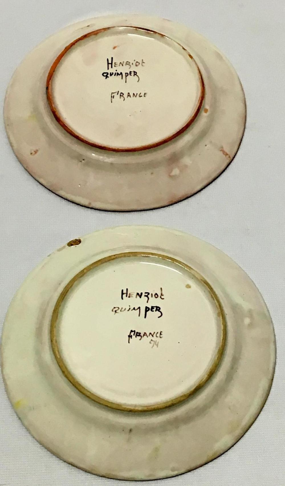 Antique Lot Of 2 Henriot Quimper Hand Painted Plates 6-7/8