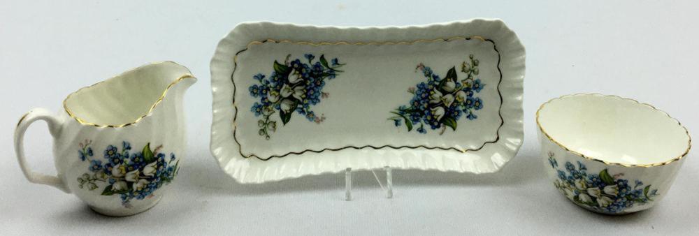 Vintage Adderley Bone China Open Sugar & Creamer W/ Tray