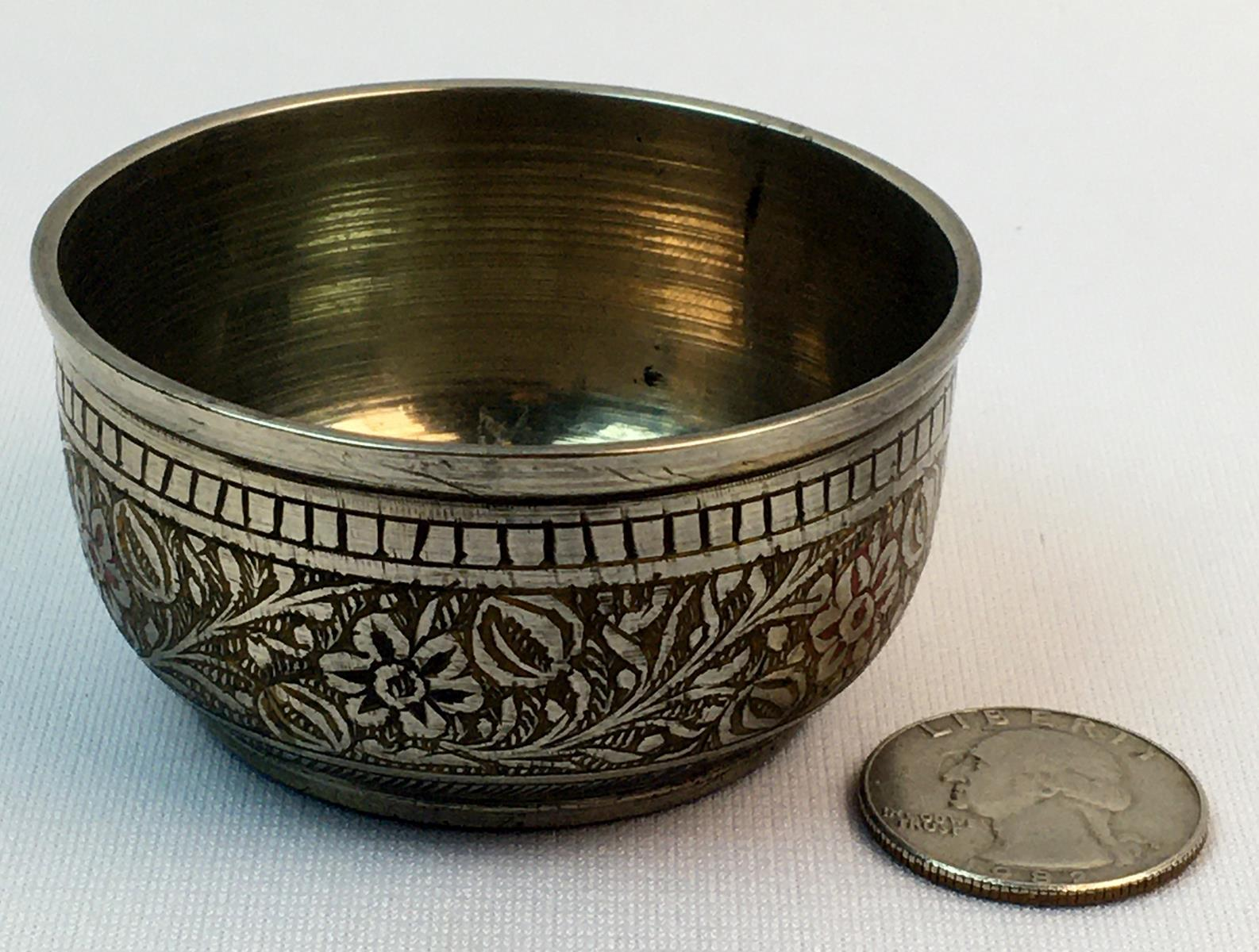 Vintage 1930's India Etched Floral Brass Lassi Covered Footed Small Cup