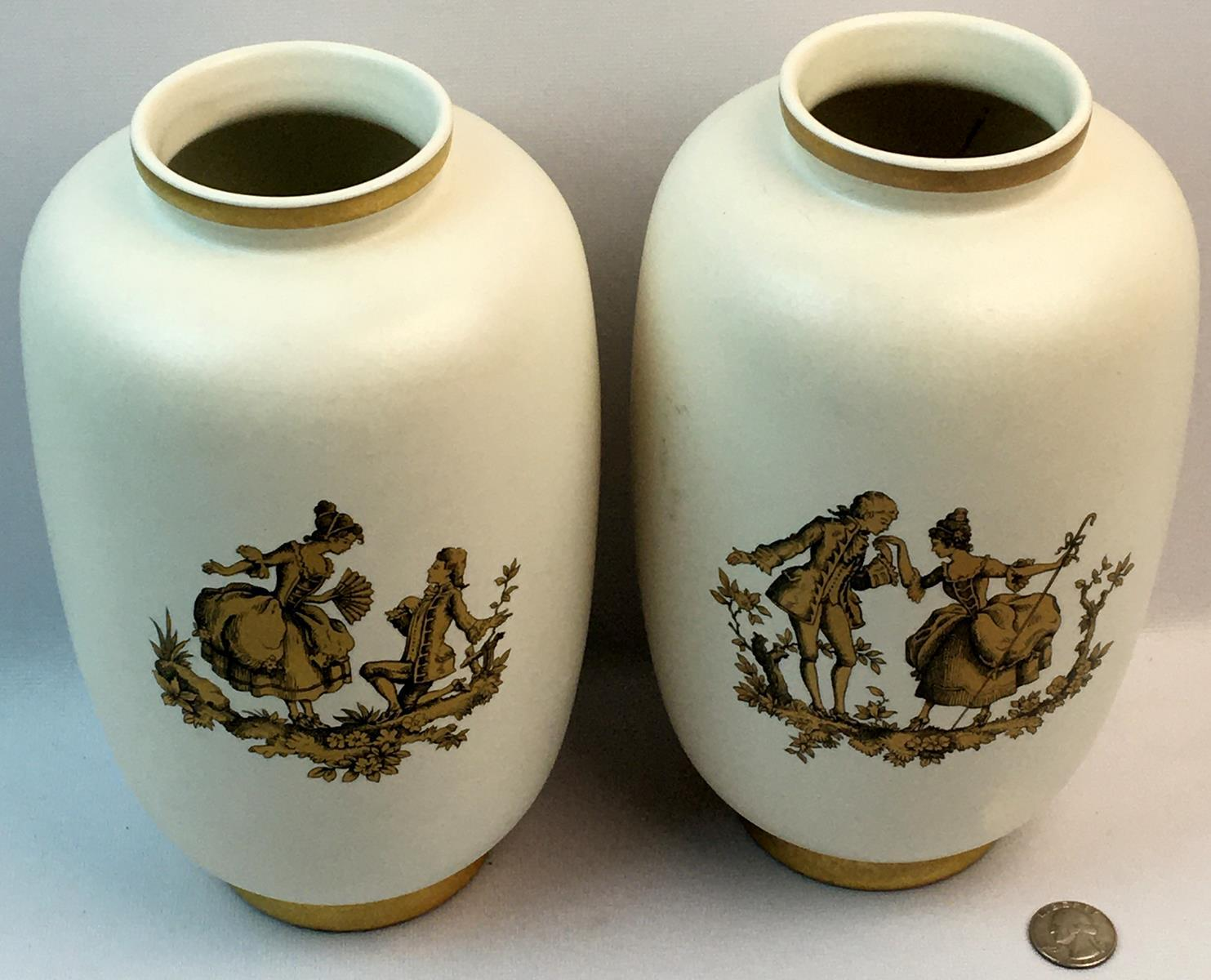 Vintage Lot of 2 Hyalyn No. 256 Pottery Vases w/ Colonial Scenes