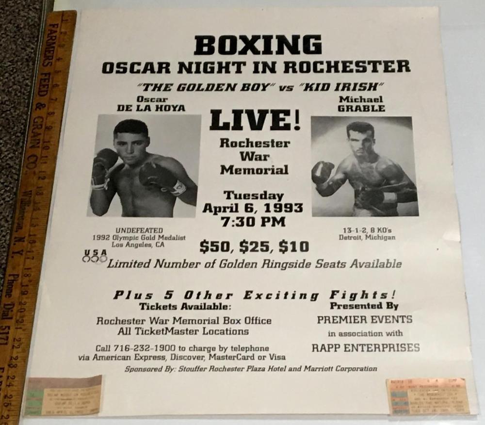 "1993 Boxing ""Oscar Night in Rochester"" Poster w/ Ticket Stub (Oscar De La Hoya vs. Mike Grable)"