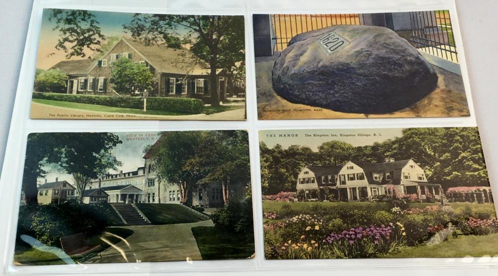 Antique Lot of 84 Misc. Massachusetts Postcard Album (Boston, Plymouth, Fort Devens, Etc..)