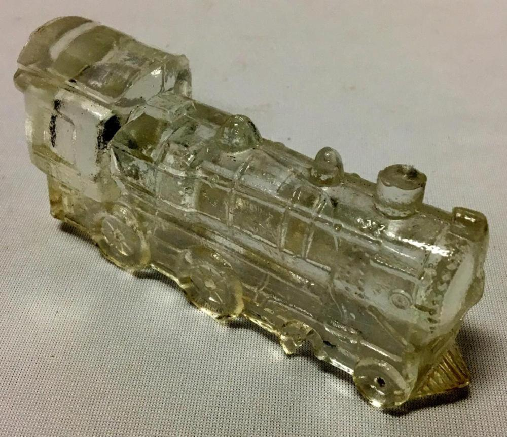 Vintage c. 1930 Glass Train Engine No. 888 Candy Container