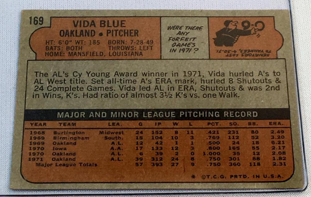 1972 Topps Set Break #169 Vida Blue Baseball Card