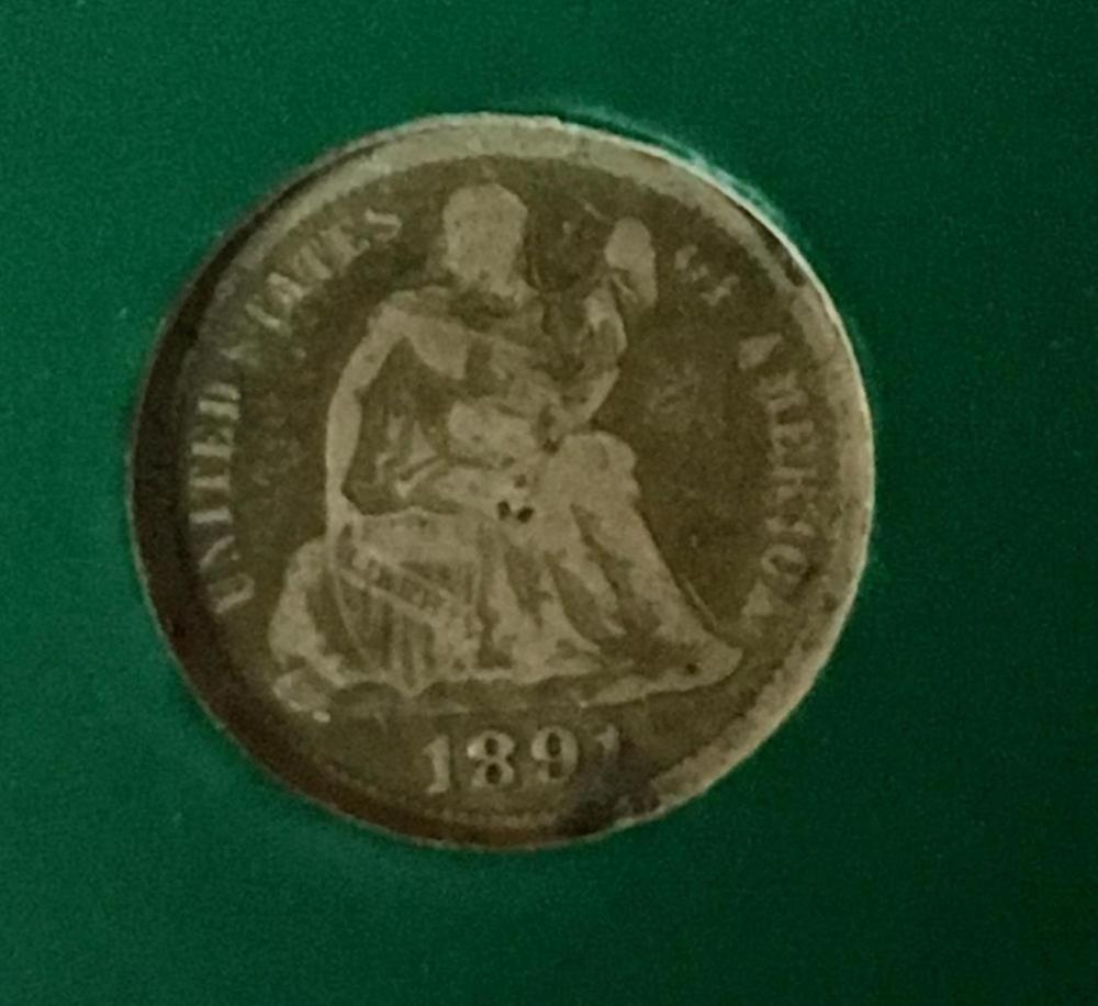 1891 US 10c Seated Liberty Silver Dime W/ Case