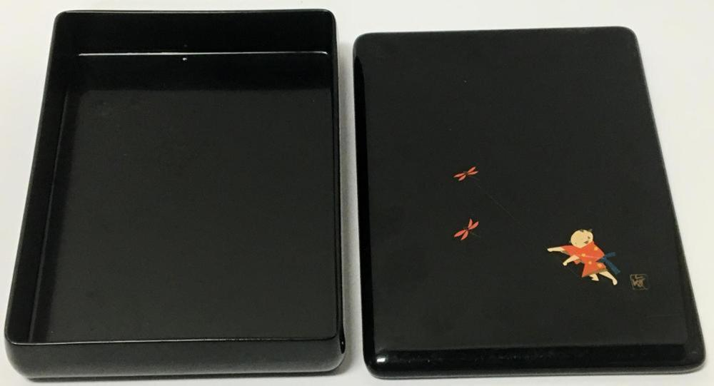 Vintage Small Child Playing Black Chinese Lacquered Box