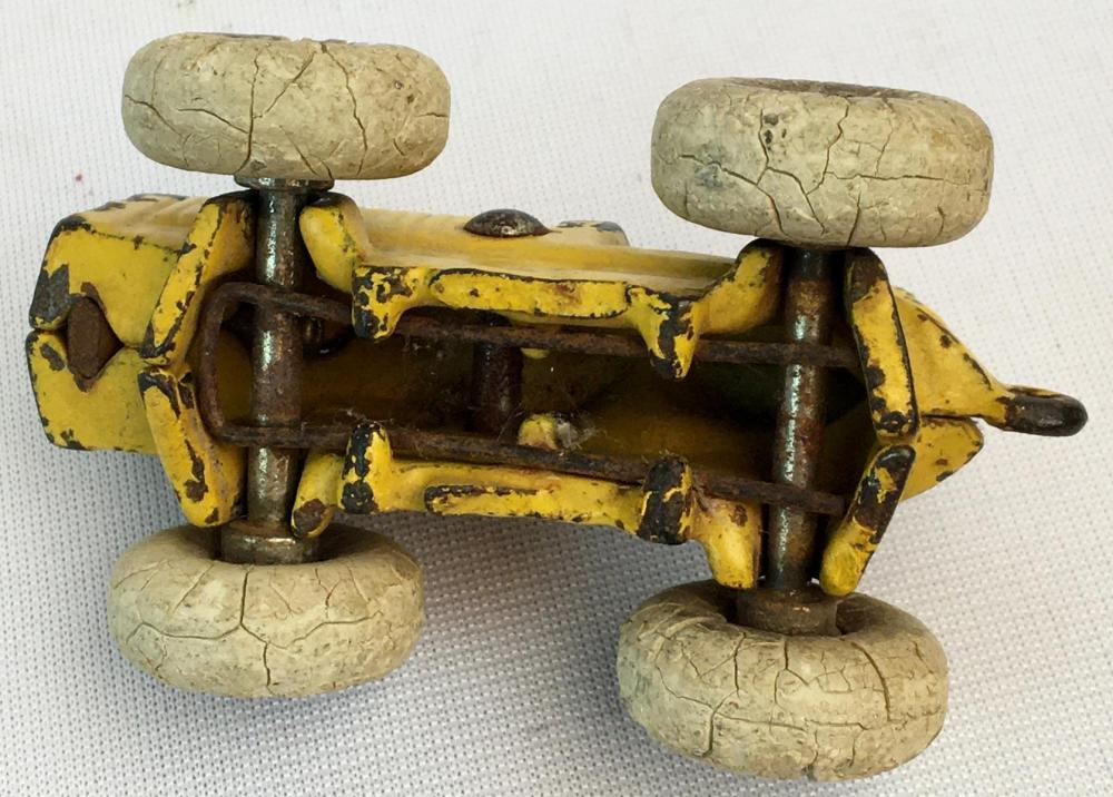 Antique c. 1920 Arcade? Yellow Cast Iron Tractor w/ Fixed Driver and White Rubber Tires