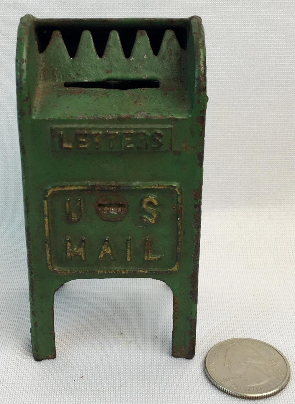 Sold Price Antique C 1920 Cast Iron Green Painted Us Letters Mail Box Coin Still Bank October 1 0120 6 00 Pm Edt