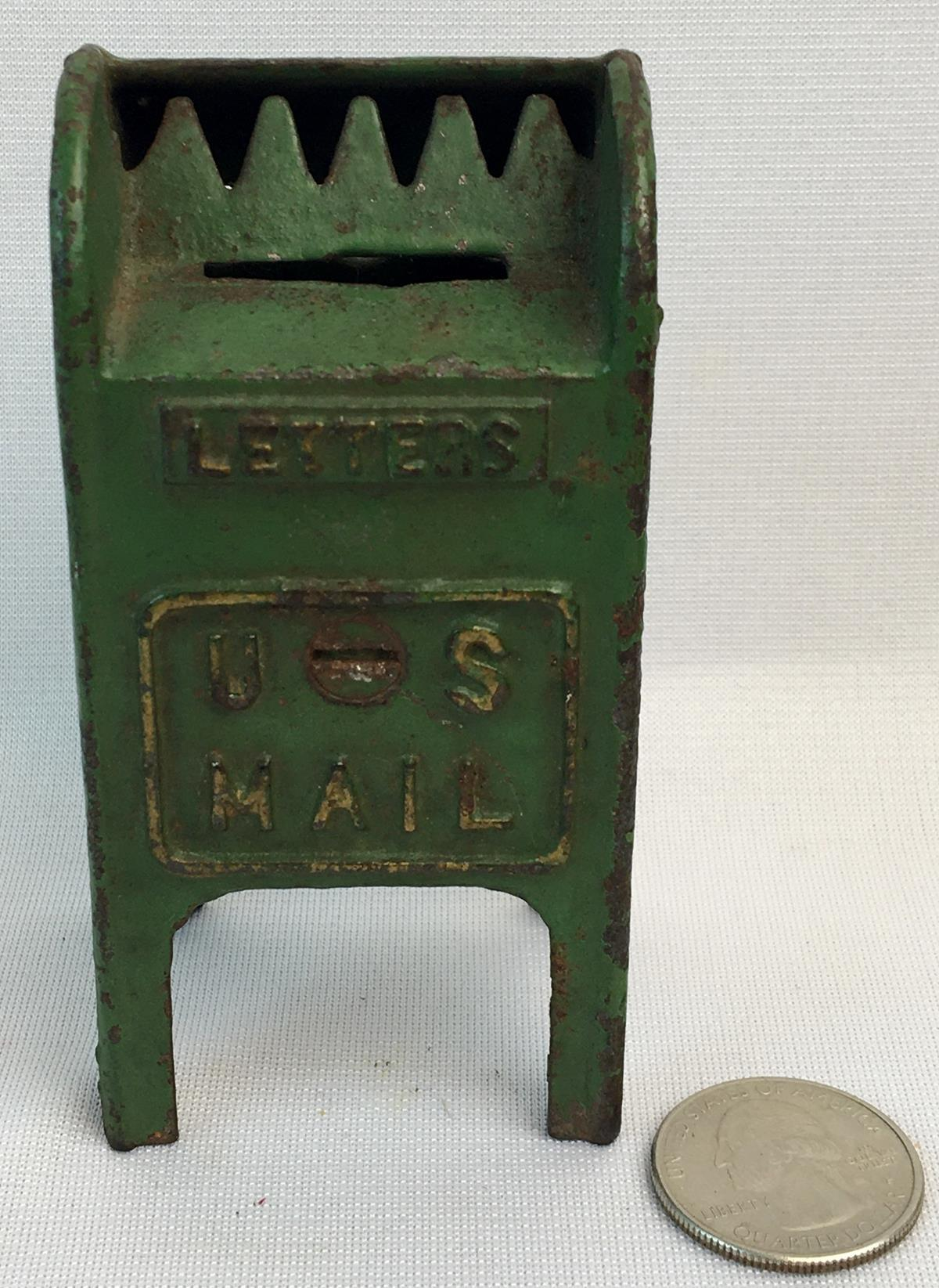 Antique c. 1920 Cast Iron Green Painted US Letters Mail Box Coin Still Bank