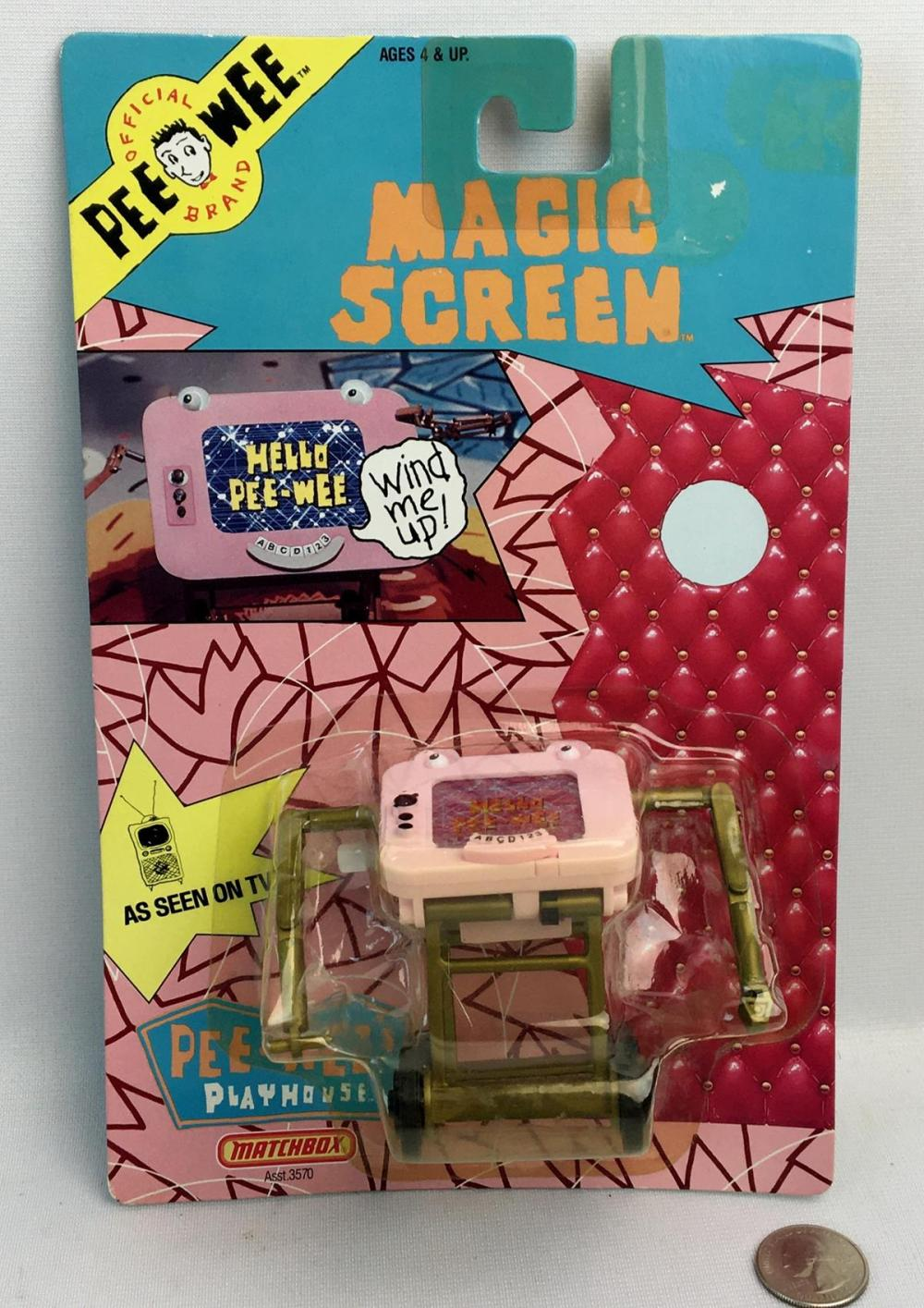1988 Pee Wee's Playhouse TV Show Magic Screen Wind Up Sealed Action Figure CARDED