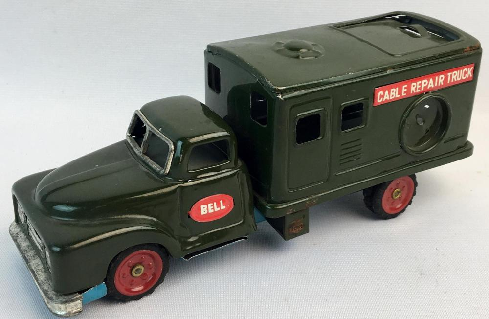 Vintage 1950's Tin Friction Chevy Bell Telephone Cable Truck WORKS