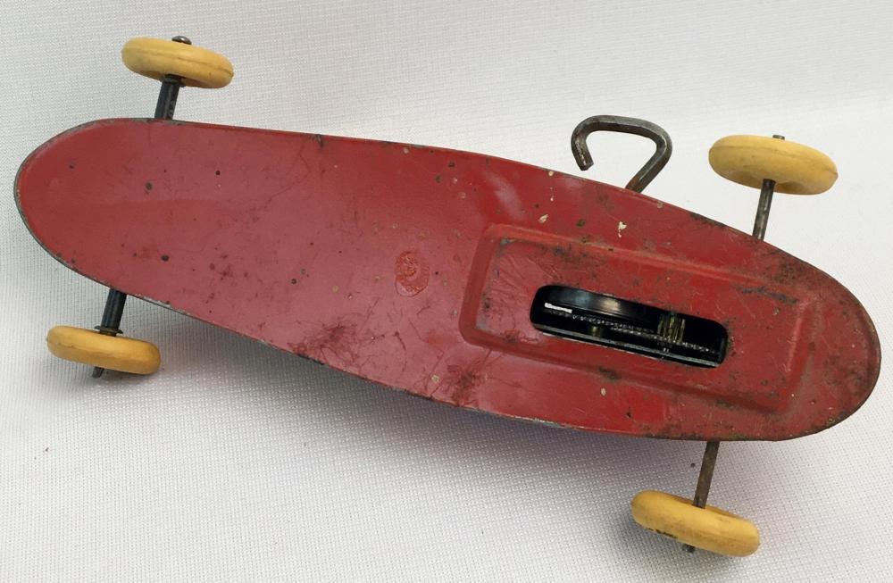 Vintage 1950's J. Chein & Co. Wind-up Tin Litho No. 52 Race Car WORKS