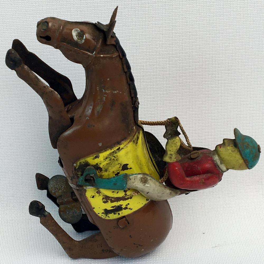 Vintage 1950's Occupied Japan Tin Litho Jockey Wind Up WORKS