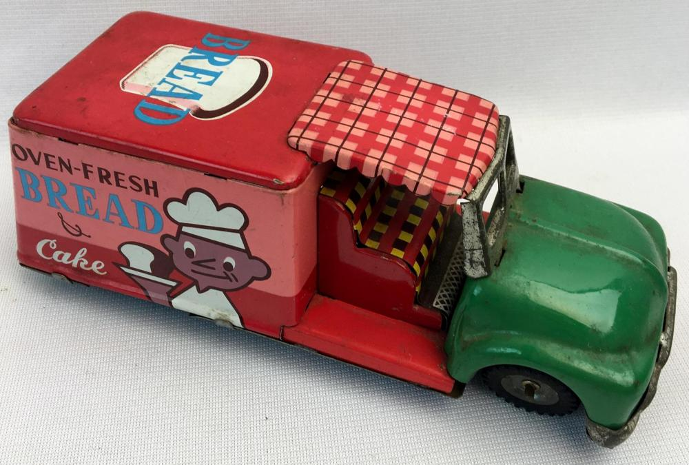 Vintage 1960's SSS Japan Tin Litho Friction Bread Truck WORKS