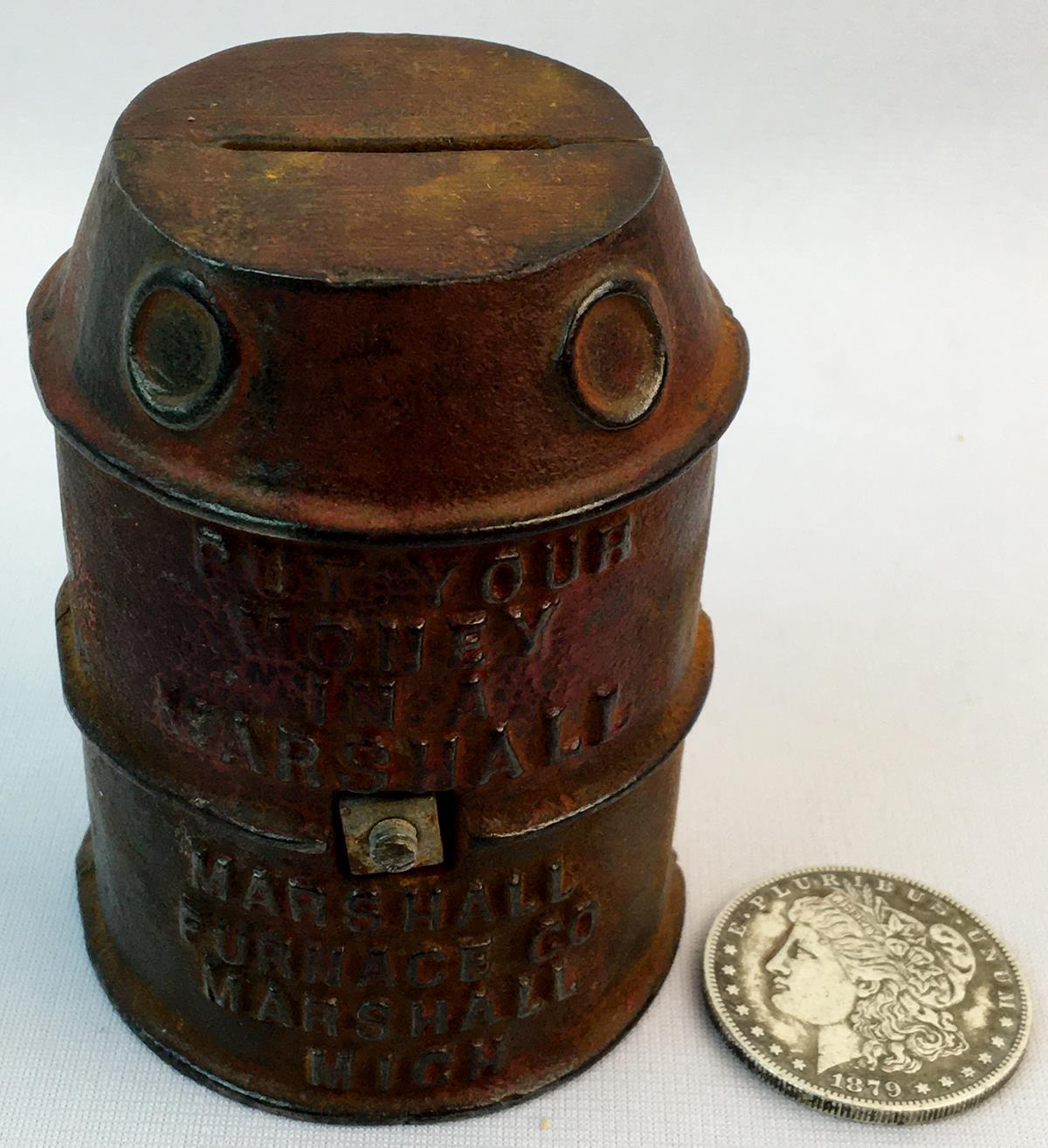 Antique c. 1900 Marshall Michigan Furnace Co. Cast Iron Still Coin Bank