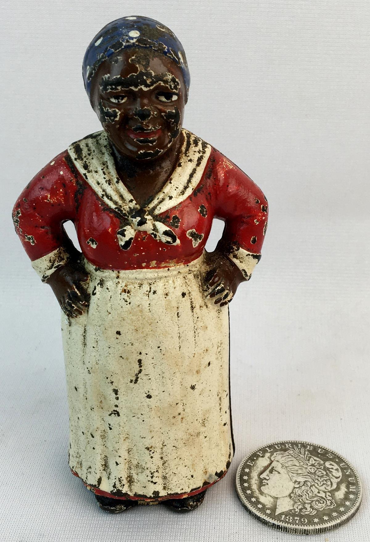 Antique c. 1920 Hubley Black Americana Aunt Jemima Cast Iron Still Bank