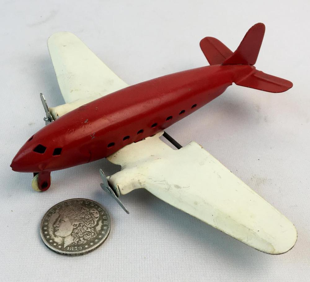 Vintage c. 1930 Wyandotte Red & White Pressed Steel Airplane