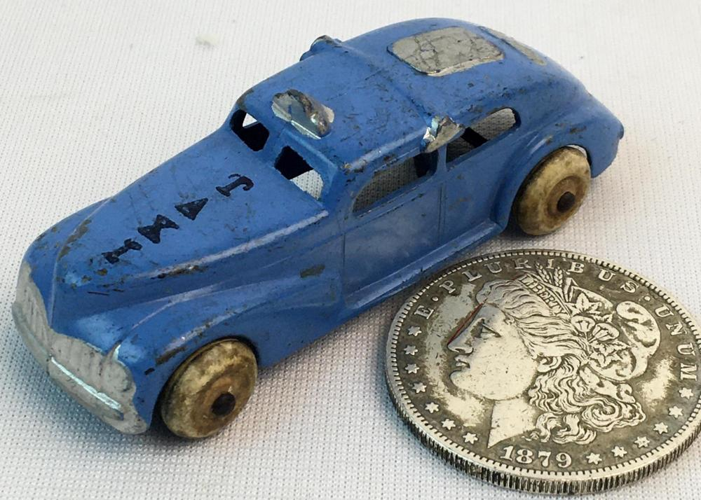 Vintage c. 1930 Barclay No. 318 Blue Sedan Taxi w/ White Rubber Tires
