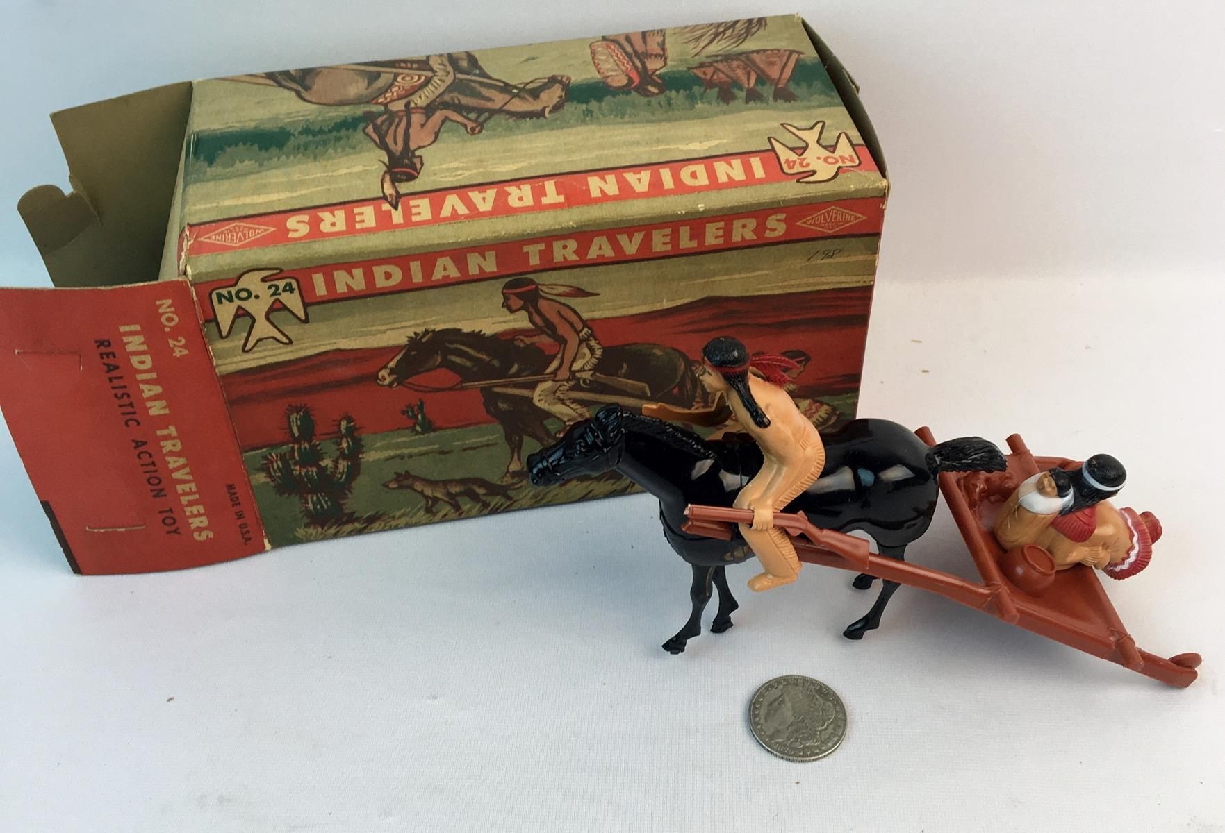 Vintage 1950's Wolverine Brand Wind-Up Indian Travelers Figure w/ Original Box WORKS