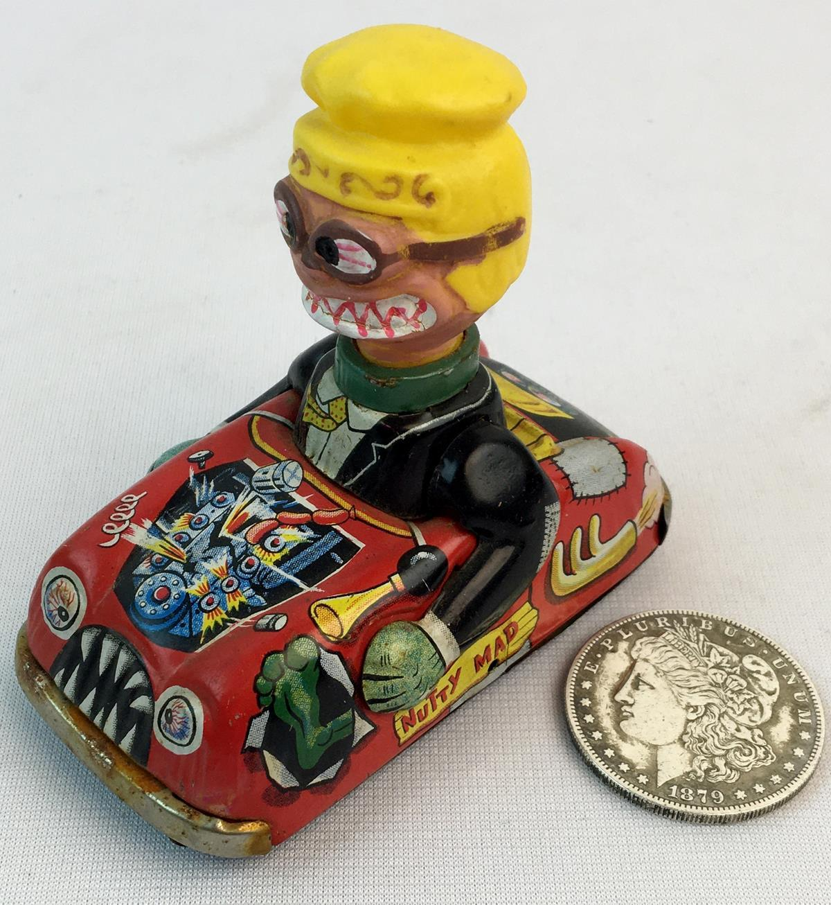 "Vintage 1960's Marx Toys ""Nutty Mad"" Tin Litho Friction Car & Driver WORKS"
