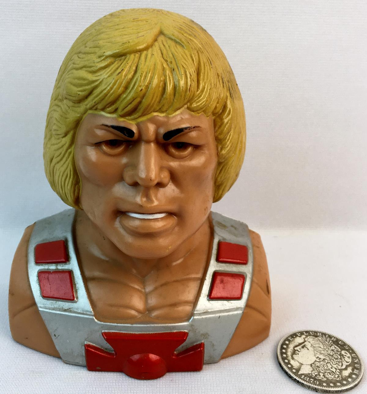 Vintage 1984 Mattel Masters of The Universe He-Man Bust Plastic Still Bank