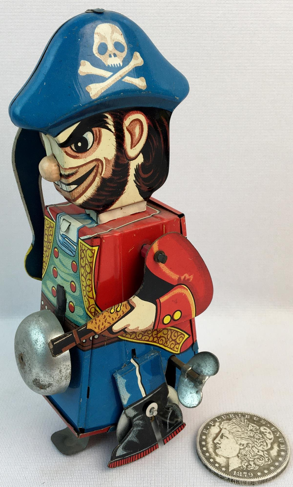 """Vintage 1960's Yone """"Mechanical Pirate"""" Windup Tin Litho Toy WORKS"""