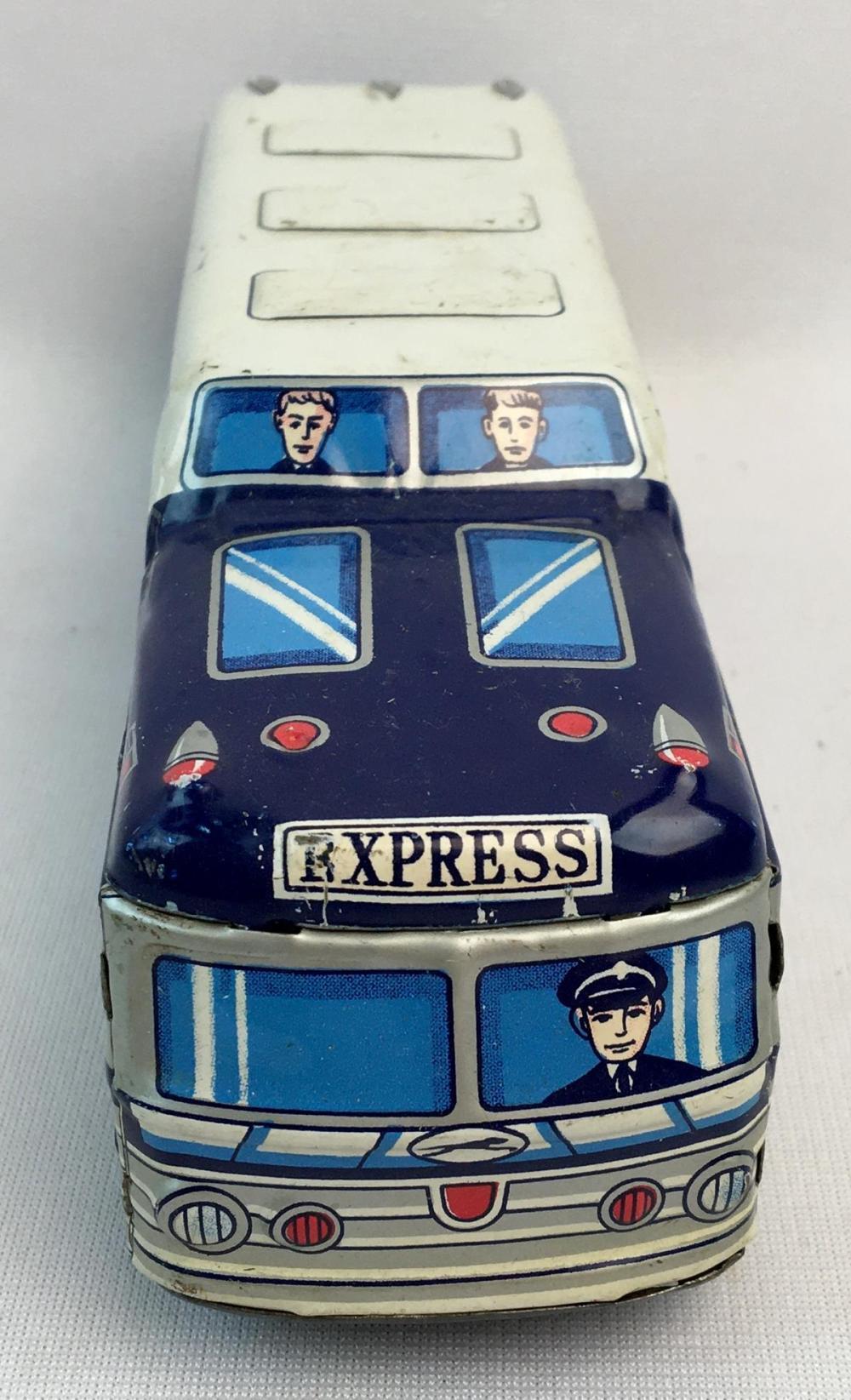 Vintage 1960's Japan Tin Litho Friction Greyhound Express Bus