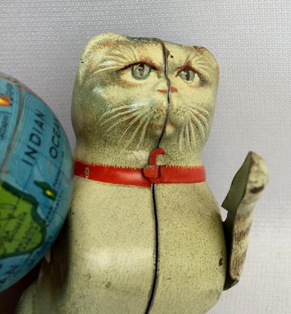 Vintage 1950's Germany Kohler Tin Litho Wind Up Clockwork Rollover Cat with Globe (RARE Version) WORKS