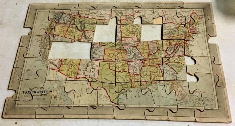 Antique 1887 McLoughlin Bros. A New Dissected Map of The United States w/ Original Box