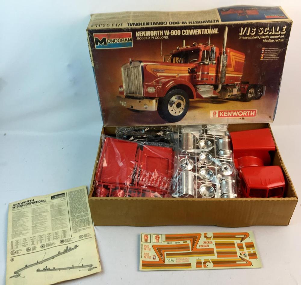 Vintage 1981 Monogram Kenworth W-900 Conventional 1/16 Scale Model Kit UNBUILT