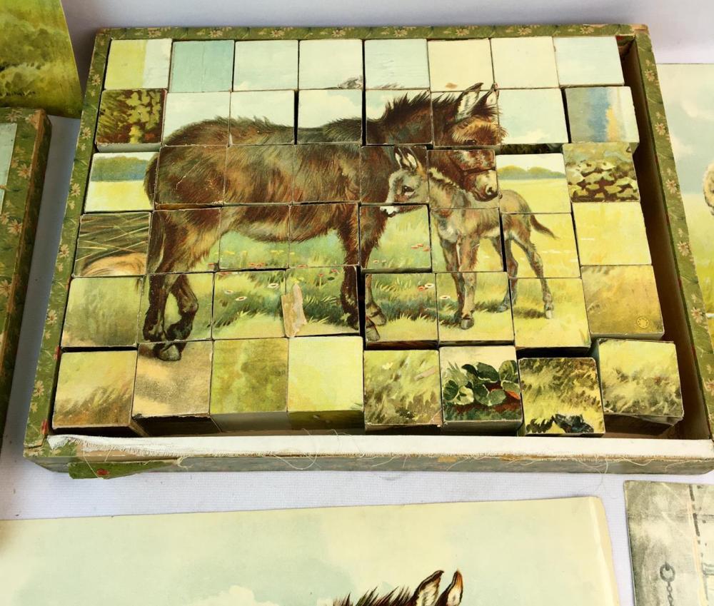Antique c. 1880 Victorian Animals Wood Block Puzzle w/ Original Box