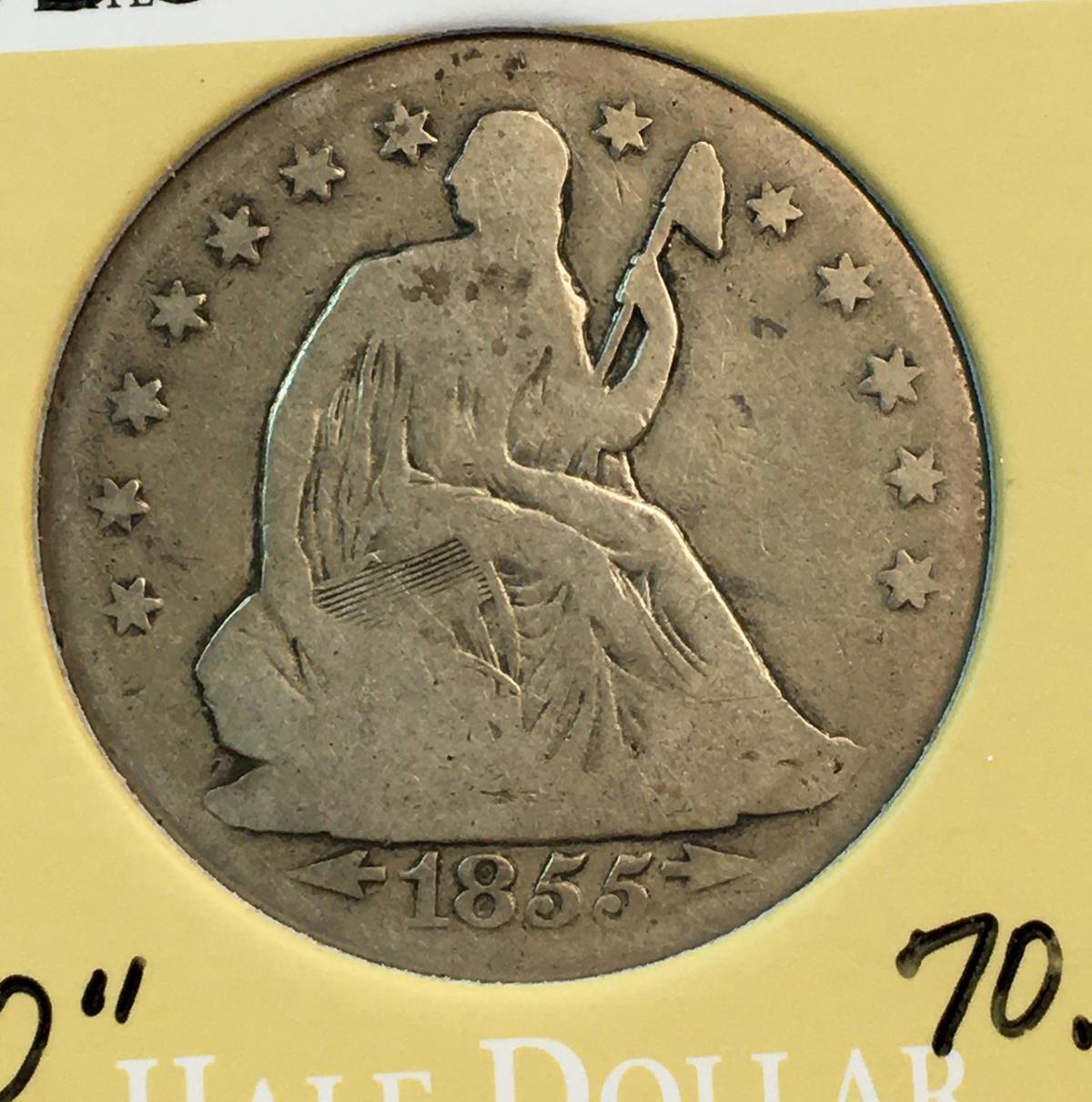 1855-O US 50c Seated Liberty Silver Half Dollar w/ Arrows