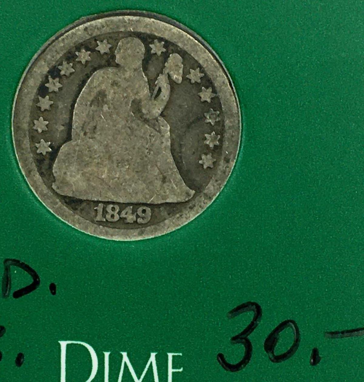 1849 US 10c Seated Liberty Silver Dime W/ Case