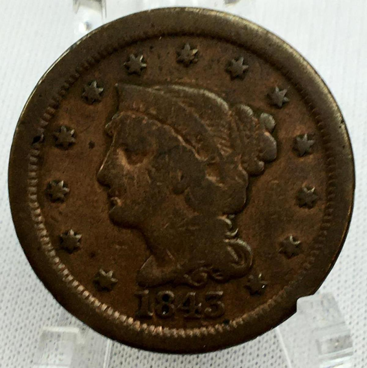 1843 US 1c Braided Hair Liberty Head Large Cent (Petite Head / Large Letters)