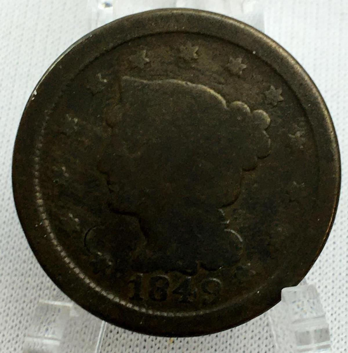1849 US 1c Braided Hair Liberty Head Large Cent