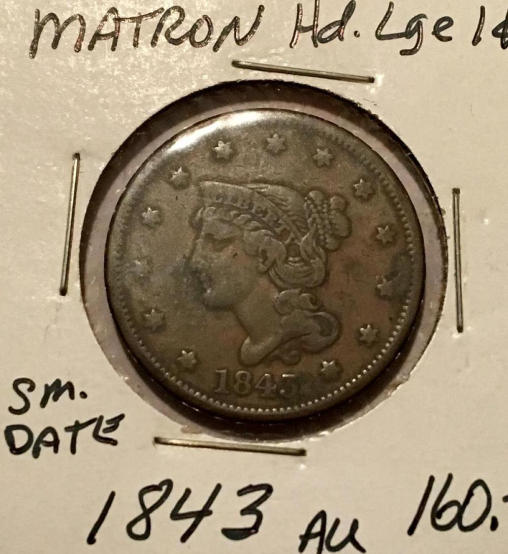 1843 US 1c Matron Head Large Cent Small Date AU